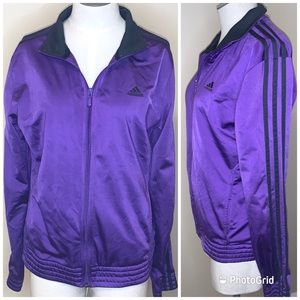 Adidas purple zipper jacket women's medium coat